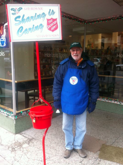 Joe W8TVT ringing the bell for the Salvation Army
